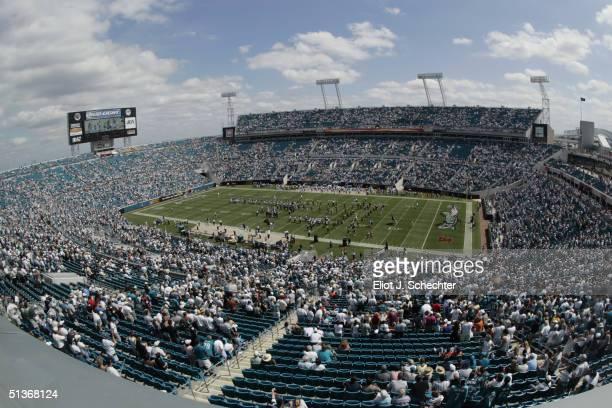 General view of ALLTEL Stadium during the game between the Jacksonville Jaguars and the Denver Broncos on September 19 2004 in Jacksonville Florida...