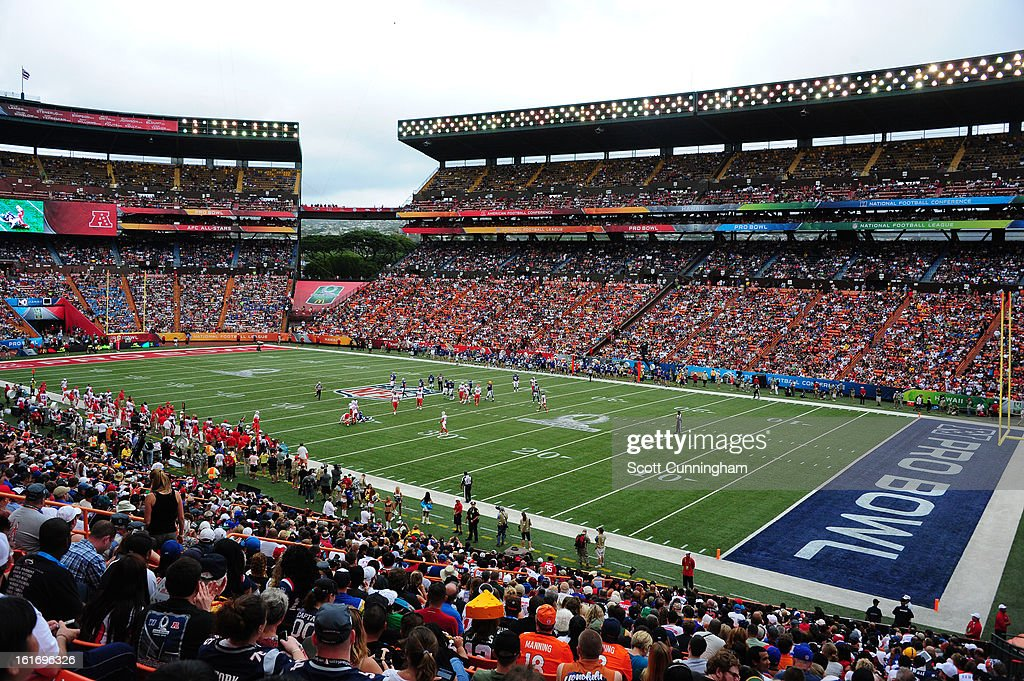 A general view of Aloha Stadium during the 2013 Pro Bowl between the American Football Conference and National Football Conferenceon January 27, 2013 in Honolulu, Hawaii