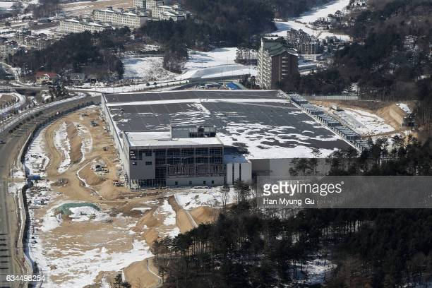 A general view of Alpensia Resort Park venue for IBC is seen during the media tour of the venues one year prior to the PyeongChang 2018 Winter...