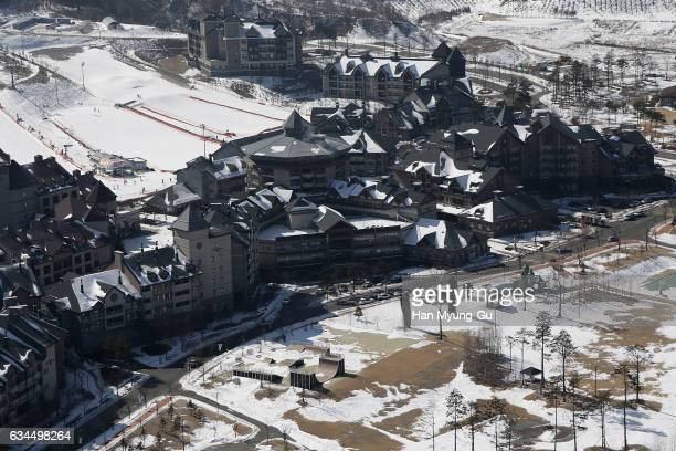 A general view of Alpensia Resort Park venue for MPC and IBC is seen during the media tour of the venues one year prior to the PyeongChang 2018...