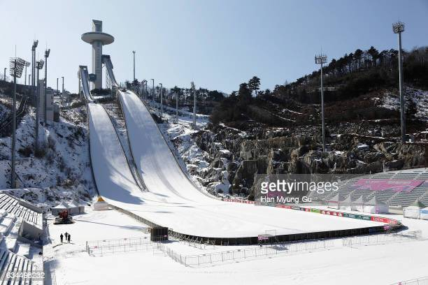A general view of Alpensia Ski Jumping Centre in Alpensia Resort Park is seen during the media tour of the venues one year prior to the PyeongChang...