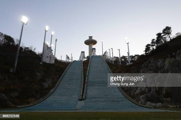 A general view of Alpensia Ski Jumping Centre in Alpensia Resort Park venue for the PyeongChang 2018 Winter Olympic Games on October 30 2017 in...