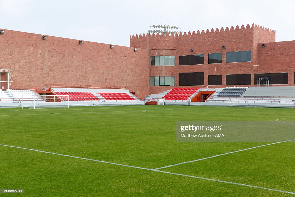 A general view of Al-Shamal SC Stadium, the home venue of Qatar Stars League team Al-Shamal SC., a Qatari football club based in Madinat ash Shamal, Qatar. The stadium is designed in the shape of a fort, with the unique feature of the floodlights coming out of the turetts.