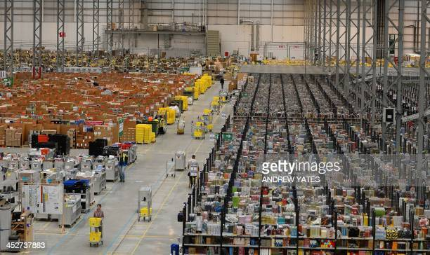 A general view of Amazon's Fulfilment Centre is pictured in Peterborough central England on November 28 2013 'Cyber Monday' which falls this year on...