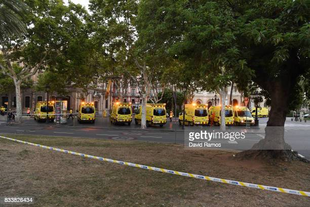 A general view of ambulances at the scene of a terrorist attack in the Las Ramblas area on August 17 2017 in Barcelona Spain Officials say 13 people...