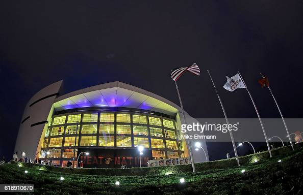 A general view of American Airlines Arena during a game between the Miami Heat and the Charlotte Hornets on October 28 2016 in Miami Florida NOTE TO...