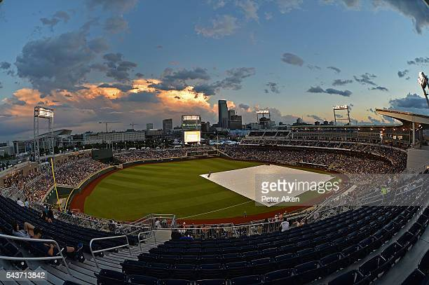 A general view of TD Ameritrade Park during the weather delay of game three of the College World Series Championship Series between the Arizona...