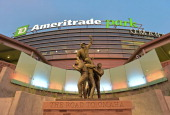 A general view of TD Ameritrade Park the night before game one of the College World Series Championship between the Virginia Cavaliers and the...