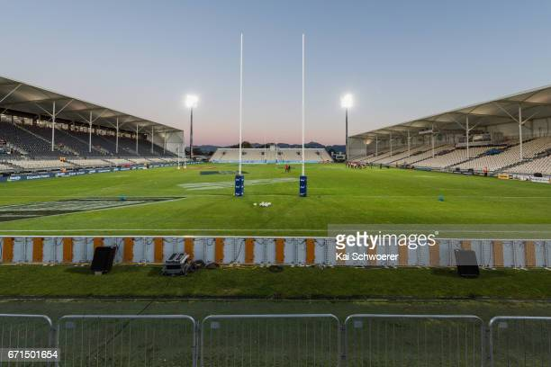 General view of AMI Stadium prior to the round nine Super Rugby match between the Crusaders and the Stormers at AMI Stadium on April 22 2017 in...
