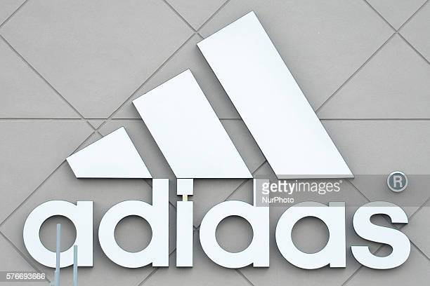 A general view of an Adidas logo seen in South Edmonton Common a retail power centre located in Edmonton Alberta The flagship shopping complex is...