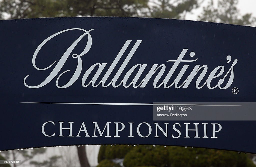 A general view of an advertising board as poor visibility and rain cause a weather delay during the first round of the Ballantine's Championship at Blackstone Golf Club on April 25, 2013 in Icheon, South Korea.
