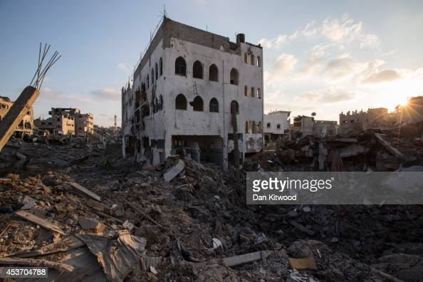 A general view of an area of destroyed housing on August 16 2014 in Gaza City Gaza A fiveday ceasefire between Palestinian factions and Israel...