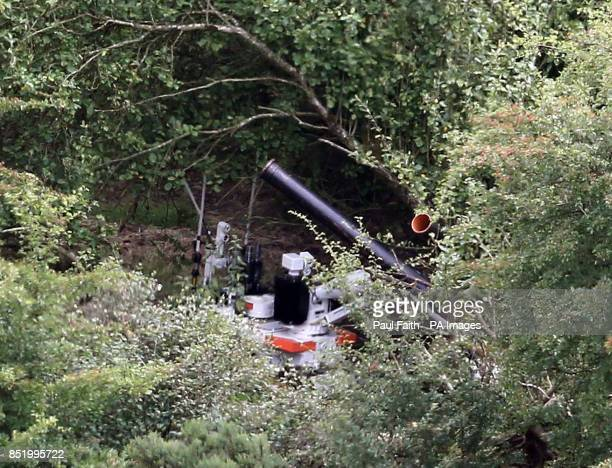 A general view of an army robot at work near the village of Cullyhanna Northern Ireland where a dissident republicanstyle rocket launcher has been...
