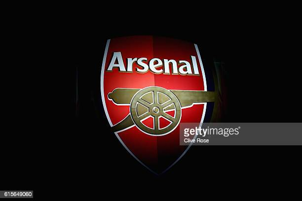 A general view of an Arsenal badge on the outside of the stadium ahead of the UEFA Champions League group A match between Arsenal FC and PFC...