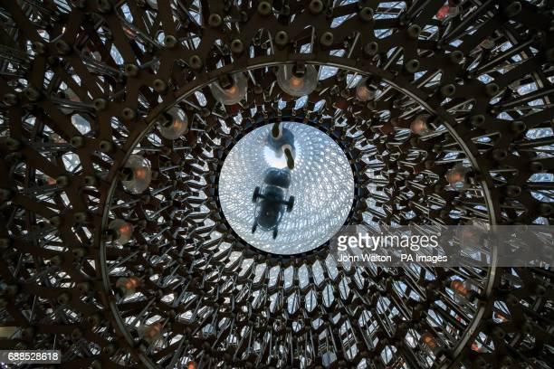 A general view of an art installation by Wolfgang Butress called the Hive which stands at 17 metres and is made from 40 tons of aluminium at The...