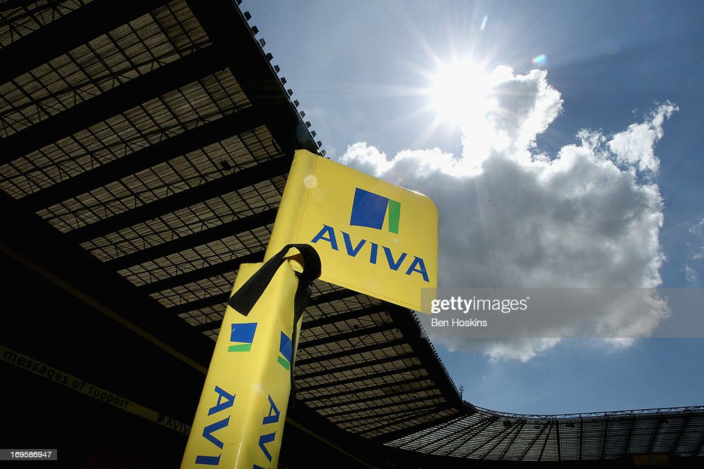 General view of an Aviva branded flag during the Aviva Premiership Final between Leicester Tigers and Northampton Saints at Twickenham Stadium on May 25, 2013 in London, England.