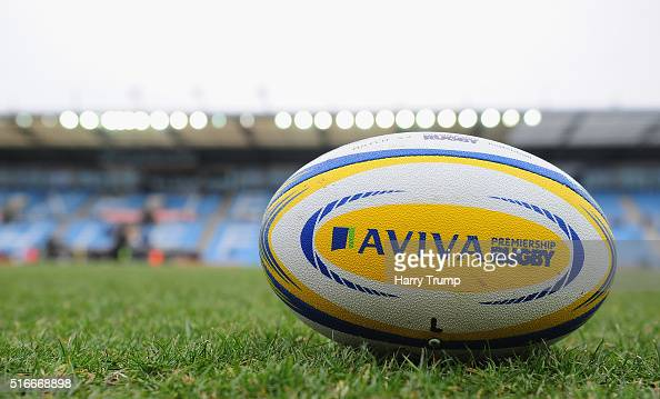 General view of an Aviva Premiership match ball during the Aviva Premiership match between Exeter Chiefs and Northampton Saints at Sandy Park on...
