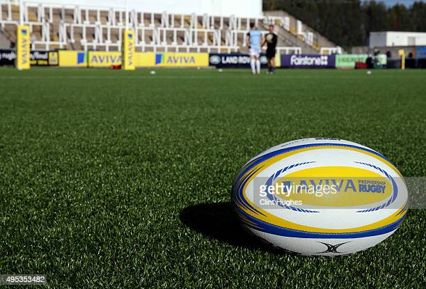 A general view of an Aviva Premiership Rugby ball during the Aviva Premiership match between Newcastle Falcons and Exeter Chiefs at Kingston Park on...