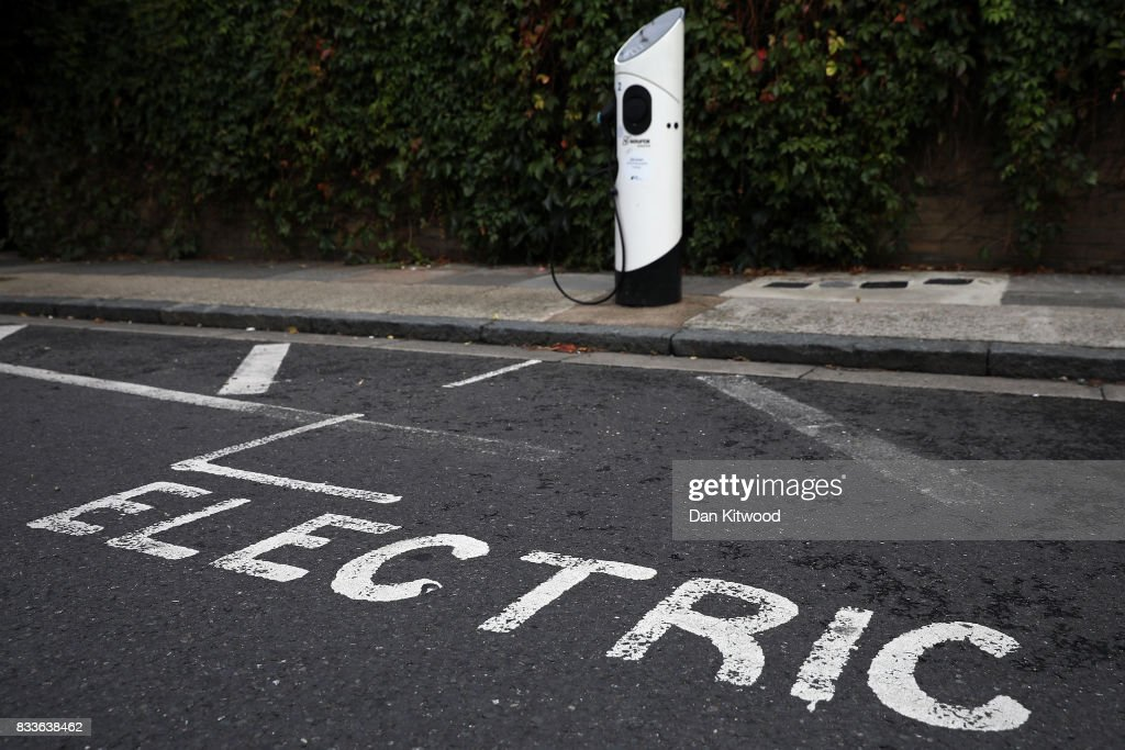 A general view of an electric vehicle (EV) charging station on August 17, 2017 in London, England. A study commissioned by power generation company Drax shows that current electric car models are twice as green as they were five years ago.