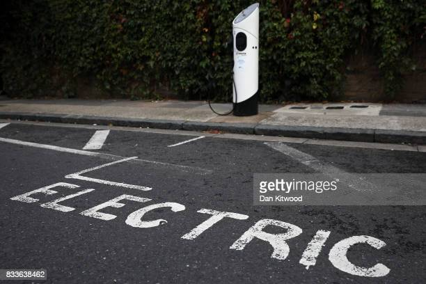 A general view of an electric vehicle charging station on August 17 2017 in London England A study commissioned by power generation company Drax...