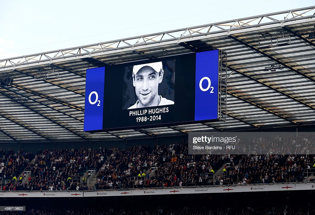 A general view of an electronic display displaying an image in memory of Australian cricketer <a gi-track='captionPersonalityLinkClicked' href=/galleries/search?phrase=Phillip+Hughes+-+Cricketer&family=editorial&specificpeople=757530 ng-click='$event.stopPropagation()'>Phillip Hughes</a> during the QBE international match between England and Australia at Twickenham Stadium on November 29, 2014 in London, England.