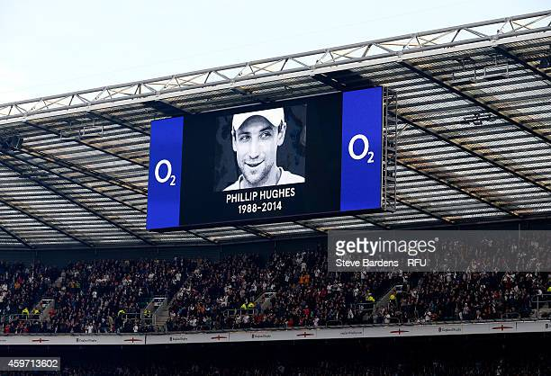 A general view of an electronic display displaying an image in memory of Australian cricketer Phillip Hughes during the QBE international match...