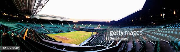General view of an empty Centre Court following the Men's Singles Final on day thirteen of the Wimbledon Lawn Tennis Championships at the All England...