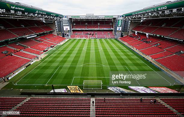 General view of an empty stadium prior to the Danish Alka Superliga match between FC Copenhagen and Brondby IF at Telia Parken Stadium on April 17...