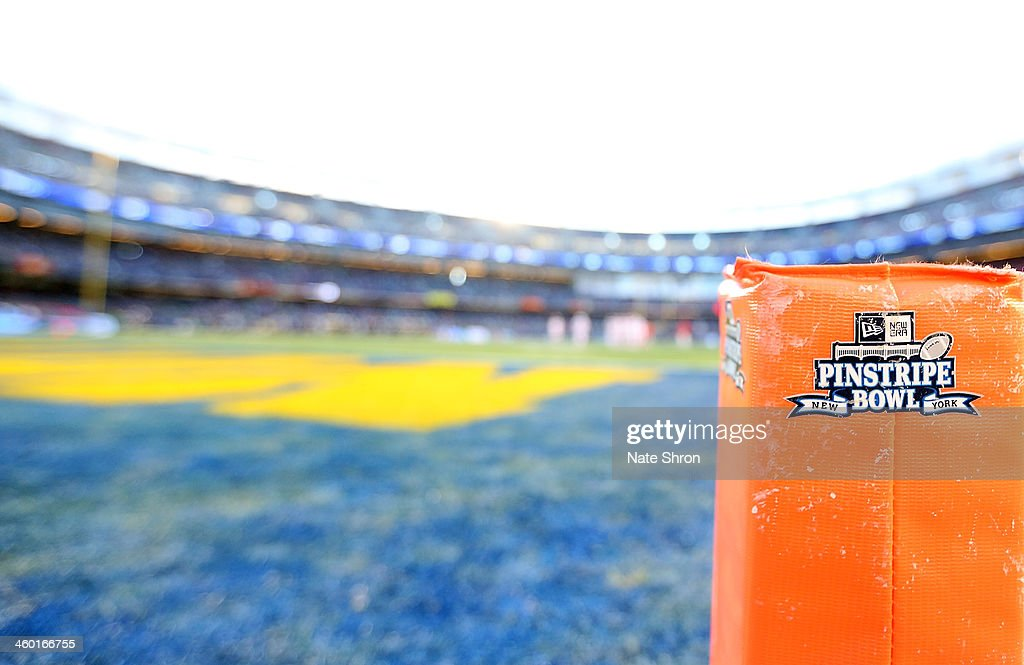 A general view of an endzone pylon at Yankee Stadium during the New Era Pinstripe Bowl game between the Notre Dame Fighting Irish and the Rutgers Scarlet Knights at Yankee Stadium on December 28, 2013 in the Bronx Borough of New York City.