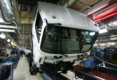 A general view of an engine assembly line for a Hyundai trucks and bus at the JeonJu plant on October 17 2007 in JeonJu South Korea Hyundai Motor Co...
