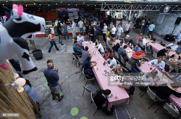 General view of an event to launch the UK's first 'National Burger Day' held at Dalston Yard Hackney London