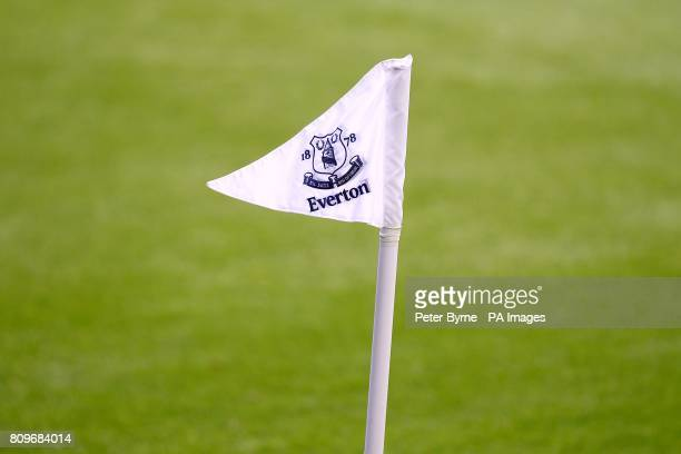 General view of an Everton FC corner flag bearing the club's crest on it