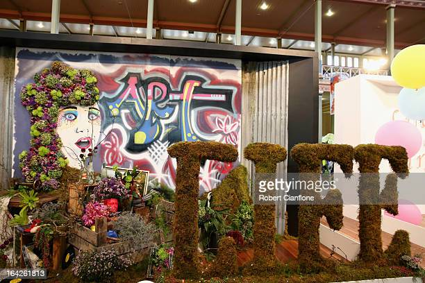 A general view of an exhibit at the 18th annual International Flower and Garden Show held at the Royal Exhibition Building and the surrounding...