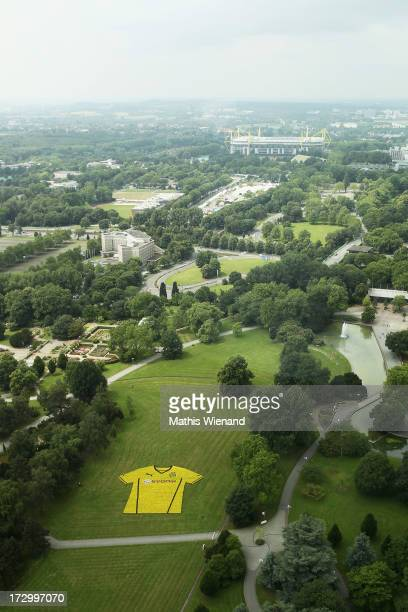 A general view of an installation made up of flowers to represent a Borussia Dortmund shirt at the Borussia Dortmund New Kit Presentation at...