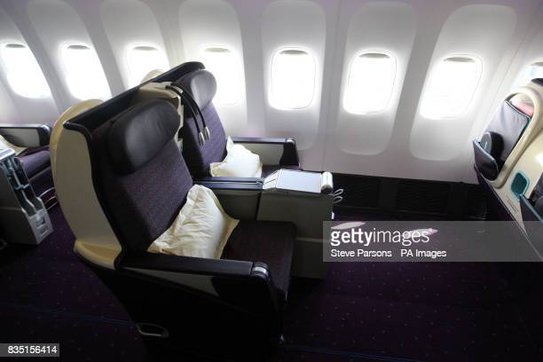General view of an International Business Class seat on a V Australia airplane