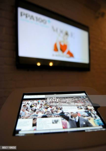A general view of an iPad showing the PPA timeline at the Professional Publishers Association Centenary Opening party at the Skyloft Millbank Tower...