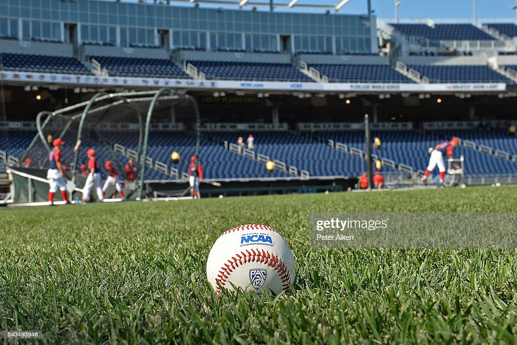 A general view of an NCAA baseball on the field prior to game two of the College World Series Championship Series between the Arizona Wildcats and the Coastal Carolina Chanticleers on June 28, 2016 at TD Ameritrade Park in Omaha, Nebraska.