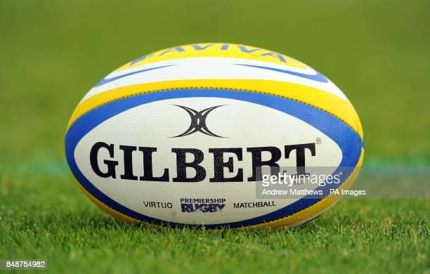 General view of an official Gilbert Aviva Premiership matchball