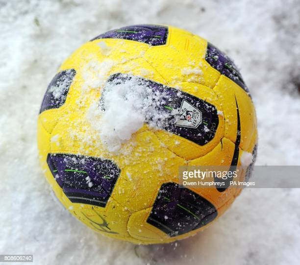 General view of an official Premier League Winter matchball with snow on it