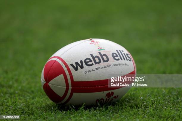 General view of an official Webb Ellis Wales RFU matchball