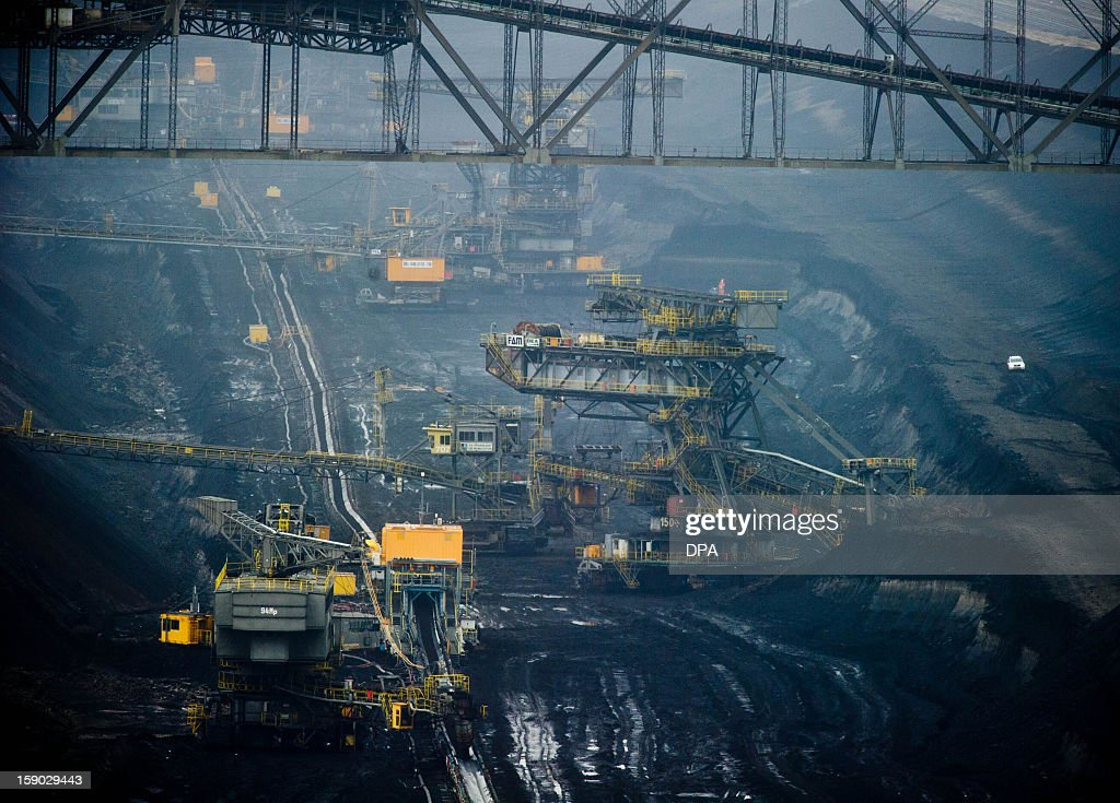 General view of an open brown coal pit in Jaenschwalde, eastern Germany, on January 6, 2013.
