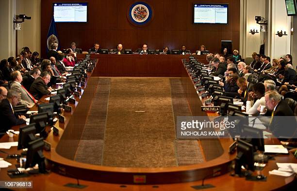 General view of an Organization of American States meeting on a border dispute between Costa Rica and Nicaragua in Washington on November 12 2010 AFP...