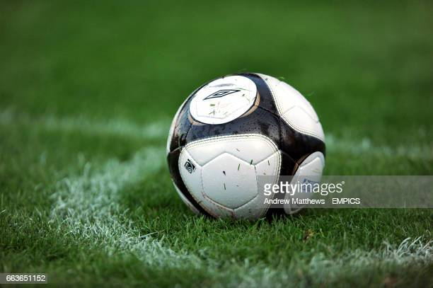 General view of an Umbro Football League matchball sitting in the corner circle
