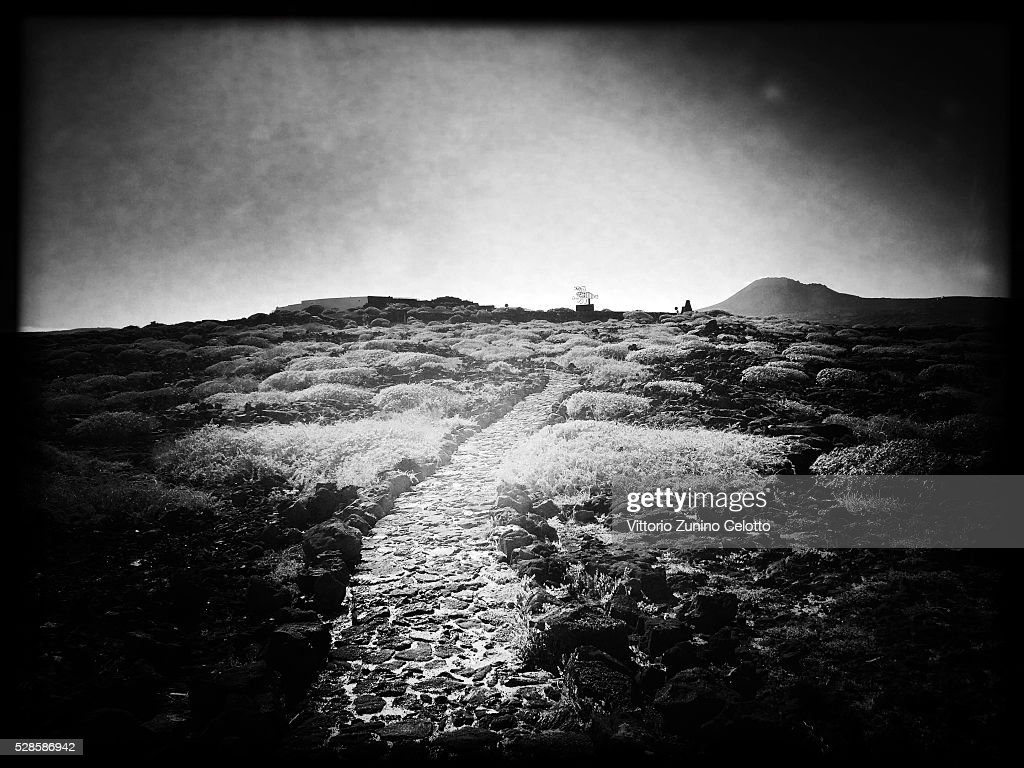 A general view of an unpaved road close to Cueva de Los Verdes on April 20, 2016 in Lanzarote, Spain.