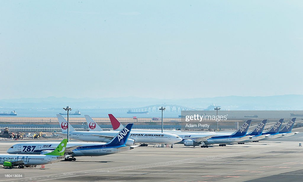 A general view of ANA and JAL Boeing 787 aeroplanes at Tokyo International Airport on January 31, 2013 in Tokyo, Japan. Boeing 787's biggest operator All Nippon Airways, grounded the Dreamliner aircrafts, after an emergency landing was made on January 16 and has since seen 459 flights cancelled this month.