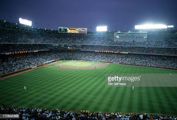 General view of Anaheim Stadium during an MLB game with the New York Yankees and California Angels in May 1989 at Anaheim Stadium in Anaheim...