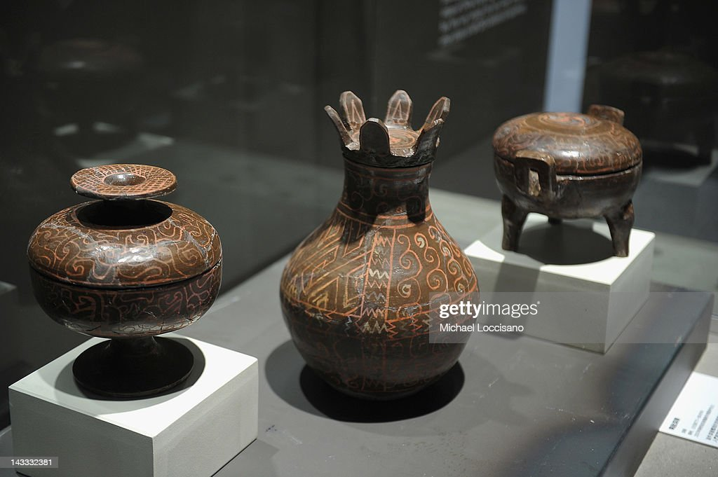 A general view of ancient Chinese artifacts on display at the Terracotta Warriors Exhibition at Discovery Times Square on April 24, 2012 in New York City. The exhibition is due to open on April 27, 2012