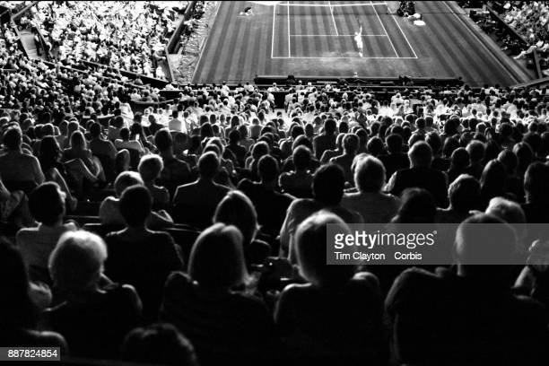 A general view of Andy Murray of Great Britain in action against Fabio Fognini of Italy on Centre Court in the Gentlemen's Singles competition during...