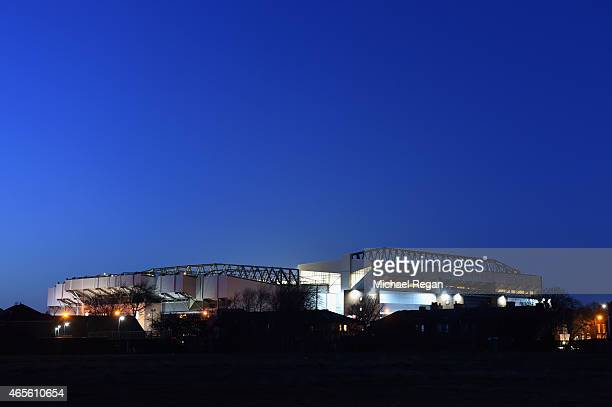 A general view of Anfield after the FA Cup Quarter Final match between Liverpool and Blackburn Rovers at Anfield on March 8 2015 in Liverpool England
