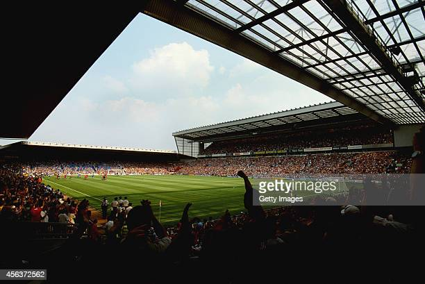 A general view of Anfield home of Liverpool FC from the Kop end circa 1995